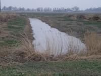 Quergraben im Osterkoog während der Arbeiten Januar 2014